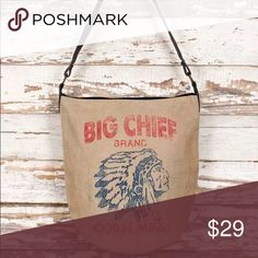 """TOTE...... 🌻 NEW ARRIVAL 🌼Bundle to save when purchasing!  🌼 Sign-up on NEW ARRIVALS page to be notified of new items, promotions and sales!  🌼 PRICE FIRM unless bundled!  🌼 This BIG CHIEF TOTE bag is roomy with canvas shoulder strap that 30"""" end to end.   🌼 This product has ticking lining, inside pocket, zippered top and printing on one side of bag.  🌼 BRAND NEW AND NEVER USED.  (GNG-49) Bags Totes"""