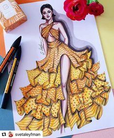 with ・・・ Yellow mood 💛🧡❤ Fashion Illustration Tutorial, Fashion Drawing Tutorial, Fashion Figure Drawing, Fashion Drawing Dresses, Fashion Illustration Dresses, Illustration Mode, Fashion Illustration Collage, Dress Design Drawing, Dress Design Sketches