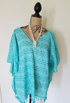 Crazy Train Poncho With Sleeves Ocean Front Property Oversize Turquoise SALE!! #CrazyTrain #Poncho