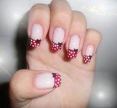 top 25 fantastic french Nails Art DesignsFrench manicures ar a well-liked trend among girls in America nowadays. And for glorious reason – the French manicure is extremely universal, and is just as acceptable for jeans and t-shirts because it may be French Nails, French Manicure Nails, Uk Nails, Nails 2014, Great Nails, Love Nails, Minnie Mouse Nails, Polka Dot Nails, Polka Dots