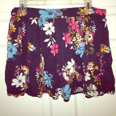 Floral Print Mini Skirt Dark blue floral print Ruffles skirt Arizona Jean Company Skirts Mini