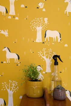 New wallpaper design. Available in 3 colors. Please visit my shop for more wallpaper designs. #gold #mustard #yellow #horses #kids #baby #nursery #kidsroom #wallpaper #bora