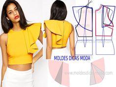 Passo a passo transformação do molde de blusa com babado. Para fazer este modelo de blusa imprima o molde base de blusa e faça a gradação para o seu tamanh