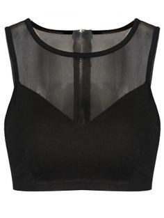Round Neck See Through Top (Black) Cute Crop Tops, Black Crop Tops, Tank Tops, Cropped Tops, Women's Tops, Sheer Crop Top, Sheer Shirt, Sheer Tops, Crop Shirt