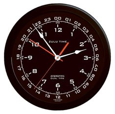 Zulu Time Wall Clock - White on Black by Trintec Industries, Inc. - This Zulu time wall clock allows you to independently set a 12 hour time scale as well as a 24 hour time scale. - trintec - Pilot Supplies at a Pilot Shop Pilot Tattoo, Italian Bar, Pilot Gifts, Clock Movements, Time Clock, Repurposed Items, Zulu, Paint Finishes, Office Gifts