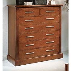 Cómoda con 7 cajones y realizada en madera de cerezo macizo. Para dormitorios juveniles y dormitorios de matrimonio.
