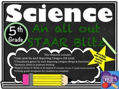 Science: An all out STAAR Blitz for 5th Grade This product includes: *Suggestions for use*Task cards for each Reporting Category (50 TOTAL task cards with answer key)*2 Vocabulary Games for each Reporting Category (Vocabulary Bingo and Vocabulary Dominoes)*Read it!