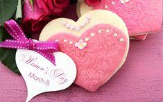 Ciastka, Serca, Róże, Dzień Kobiet