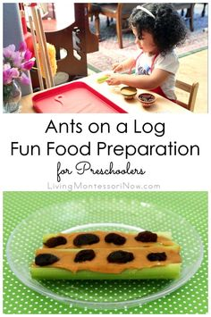 Ants on a log is healthy, fun, and a snack that can be prepared entirely or almost entirely by a preschooler; a perfect Montessori practical life activity and recipe for kids in the kitchen!