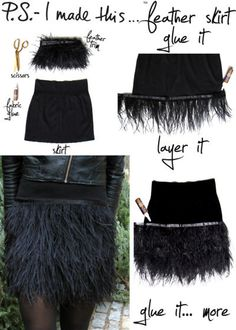 9. Get a little more involved with your feathers and glue them on a skirt. | Make 33 Pretty Things With (Cruelty-Free) Feathers