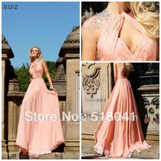 2013 No Risk Shopping a line high collar floor length sexy ruffle skin pink crystals open back plus size bridesmaid dresses bd34-in Bridesma...