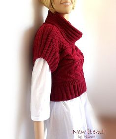 Hand Knit Red sweater Knit  Womens Vest knit sweater by Pilland, $180.00