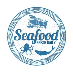 Blau Grunge Stempel mit Oktopus Fischform Hummer und Meeresfr chten dem Wort geschrieben innen Vekto Lizenzfreie Bilder