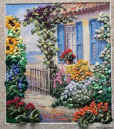 Garden gate ribbon embroidery