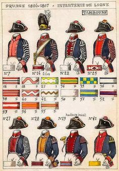 NAP- Prussia: Prussian Line Infantry, by Christian Terrana. (Found in L'Armée Prusiennne 1806 – 1807, written by JJ Gilet.) Prussian Army Uniformological Plates, L'Armée Prusiennne 1806 – 1807 by JJ Gilet and painted by Christian Terrana.