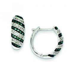 Sterling Silver Blue Diamond Leverback Hoop #Earring
