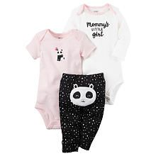 Carters 3 Piece White Slogan and Pink Panda Applique Bodysuits with Turn Me Around Detail Pant Set