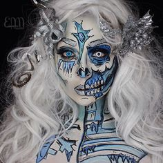 "Great for Halloween xD - ""️Popart Zombie Ice Queen ️ For the Collab I posted… Horror Makeup, Zombie Makeup, Scary Makeup, Sfx Makeup, Skull Makeup, Costume Halloween, Halloween Looks, Halloween Face Makeup, Pop Art Zombie"