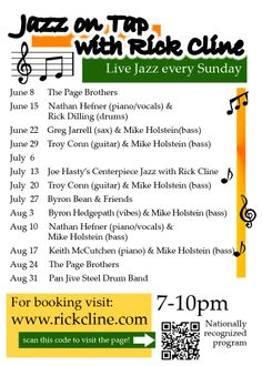 Olde Hickory Tap Room Jazz on Tap schedule Jun, July, Aug. 2014