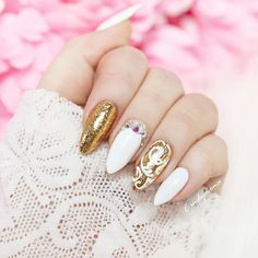 White and Gold nails with alu flakes and Monasi gel polish from Aliexpress.