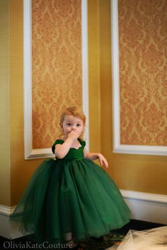 Emerald Flower Girl Dress 3m-5T. $145.00, via Etsy.