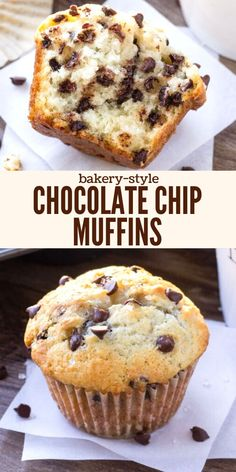 Bakery Style Chocolate Chip Muffins - To preface this – I love chocolate chip muffins. They're probably my favorite thing to eat for breakfast. Or whenever the craving hits. Just Desserts, Delicious Desserts, Dessert Recipes, Yummy Food, No Bake Treats, Yummy Treats, Sweet Treats, Best Muffin Recipe, Homemade Muffins