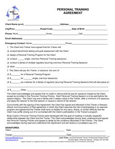 Printable Sample Personal Training Contract Template Form  Online