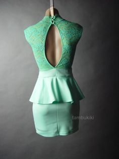 40s 50s Floral Sheer Lace High Neck Top Vtg-y Mint Green Peplum 31 df Dress XS/S #Peplum #Casual