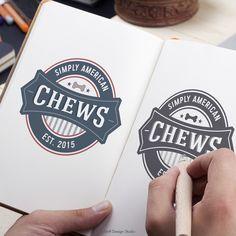 Dog Treat Logo Design for Simply American Chews I #PetBusinessLogo I #PetLogoDesign  I #PetTreatLogo I #RetroLogoDesign I #DogLogo I #CanineLogo I #PetBranding  I #DogBranding I #PetBrandIdentity I #SniffDesignStudio