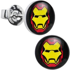 Licensed Iron Man Stainless Steel Stud Earrings | Body Candy Body Jewelry