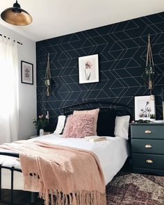 (AD) I'm so pleased to show you the spare room revamp that I've been working on in collaboration with I've done it all myself, so I hope you Blue And Gold Bedroom, Navy Bedroom Decor, Room Ideas Bedroom, Cozy Bedroom, Wall Paper Bedroom, Navy Bedroom Walls, Navy Blue Bedrooms, Master Bedroom, Bedroom Color Schemes