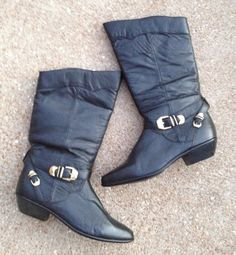 7.5 Pirate Boots. Black. Rocker. 80s. found byLB $38.00