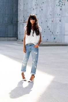21 Stylish Ways To Wear A Plain White T Shirt - white t-shirt half-tucked into…