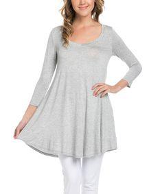 Look at this #zulilyfind! Heather Gray Three-Quarter Sleeve Tunic - Plus Too #zulilyfinds