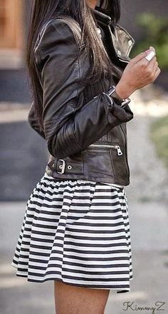 A black leather jacket makes a simple striped dress just that much more interesting. I don't generally like thin stripes, but I like the way they look in this outfit. Look Fashion, Street Fashion, Womens Fashion, Lolita Fashion, Nail Fashion, Fashion Edgy, White Fashion, Modern Fashion, Leather Fashion