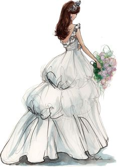 wedding dress fashion illustration- note the poofy areas in the back