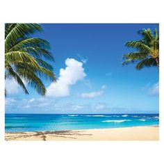 JP London PMUR2351 Blue Ocean Tropical Beach Palm Paradise uStrip Peel and Stick Removable Wall Mural