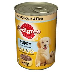 Pedigree Puppy Food Tins Chicken Rice Chunks in Jelly 4 x 6 x 400g Pedigree Tins - after years of research we believe that a healthy and tasty meal comes from good naturally delicious ingredients.