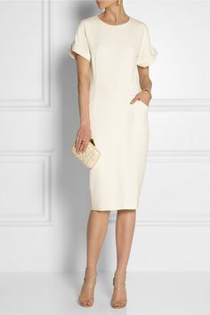 By Malene Birger Azelia ponte dress NET-A-PORTER.COM Refresh day-to-night looks with By Malene Birger's double-knit ponte dress. This mid-weight style has rolled short sleeves, welt pockets and a zip-fastening back slit. Complement the pristine hue with gold accents.  Off-white ponte Concealed hook and zip fastening at back 61% polyester, 33% viscose, 6% elastane; lining: 100% viscose