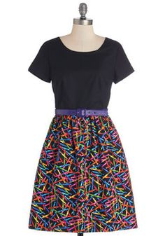 SOLD NWOT Medium, limited swap (no sales, yet) Drawn to Style Dress. Color your day with the polychromatic crayons printed upon this cotton dress! Art Teacher Outfits, Teacher Dresses, Teacher Fashion, Teacher Style, Teacher Clothes, Plus Size Dresses, Cute Dresses, Casual Dresses, Fashion Dresses