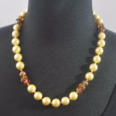 Yellow Shell Pearls with Copper Rhinestone Accent Necklace