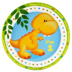 """Your little one will roar with excitement over these cute Little Dino 1st Birthday Dinner Plates! Includes 8 paper dinner plates that each measure 9"""""""" in diameter.Includes: (8) themed 9"""""""" paper dinner"""