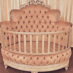 """A bassinet, bassinette, or cradle is a bed specifically for babies from birth to about four months, and small enough to provide a """"cocoon"""" that small babies find comforting. Baby Bedroom, Baby Room Decor, Girls Bedroom, Nursery Furniture Sets, Baby Furniture, Round Cribs, Princess Nursery, Baby Room Design, Dream Baby"""