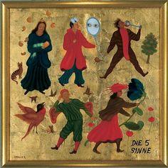 Arik Brauer - Die fuenf Sinne (the five senses) Rudolf Hausner, Vienna, Austria, Surrealism, Artists, Painting, Visual Arts, School, Painting Art