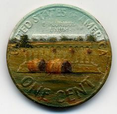 Tiny Oil Paintings Cover the Surface of a Penny by Jacqueline Lou Skaggs
