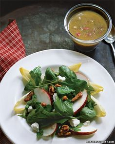 Apple, Walnut, and Endive Salad - Whole Living Eat Well (Baby Greens, Belgian Endive, Fresh Mint Leaves, Red Apples, Walnuts, Goat Cheese, Dressing (Grainy Mustard, Honey, Shallot and Cider Vinegar))