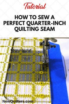Sewing Machines Photo of sewing machine presser foot with ruler and blue painter's tape seam guide - Frustrated by quilt blocks that turn out the wrong size? Learn to sew a scant quarter-inch seam and make your quilts come out right. Quilting Tips, Quilting Tutorials, Sewing Tutorials, Beginner Quilting, Quilting Projects, Quilting Rulers, Quilt Binding, Quilting Classes, Quilting Thread