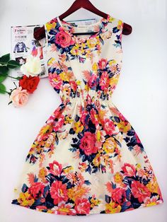 2015 spring casual Bohemian floral beach chiffon dresses (20+ styles)