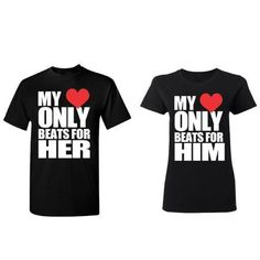 Only Beats For Her - Him Couple Matching T-shirt Set Valentines Anniversary Christmas Gift Men Small Women Small