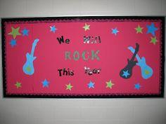Terri's Teaching Treasures: A Rockin' Bulletin Board Great bulletin board idea for back to school. Star Bulletin Boards, Motivational Bulletin Boards, Bulletin Board Display, Classroom Bulletin Boards, Classroom Walls, Classroom Themes, Classroom Organization, Stars Classroom, Music Classroom